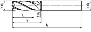 technische Zeichnung HPC Torusfräser für ALU Typ K63